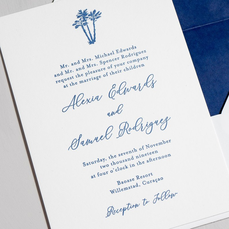 Elegant Palm Tree Letterpress Wedding Invitation - Example of line graphics that can be letterpressed.