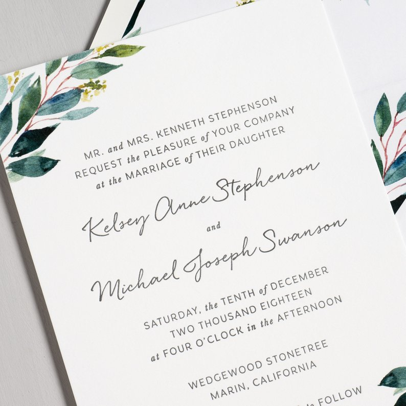 Botanical Greenery Letterpress Wedding Invitation - Example of watercolor graphics that can't be letterpressed.
