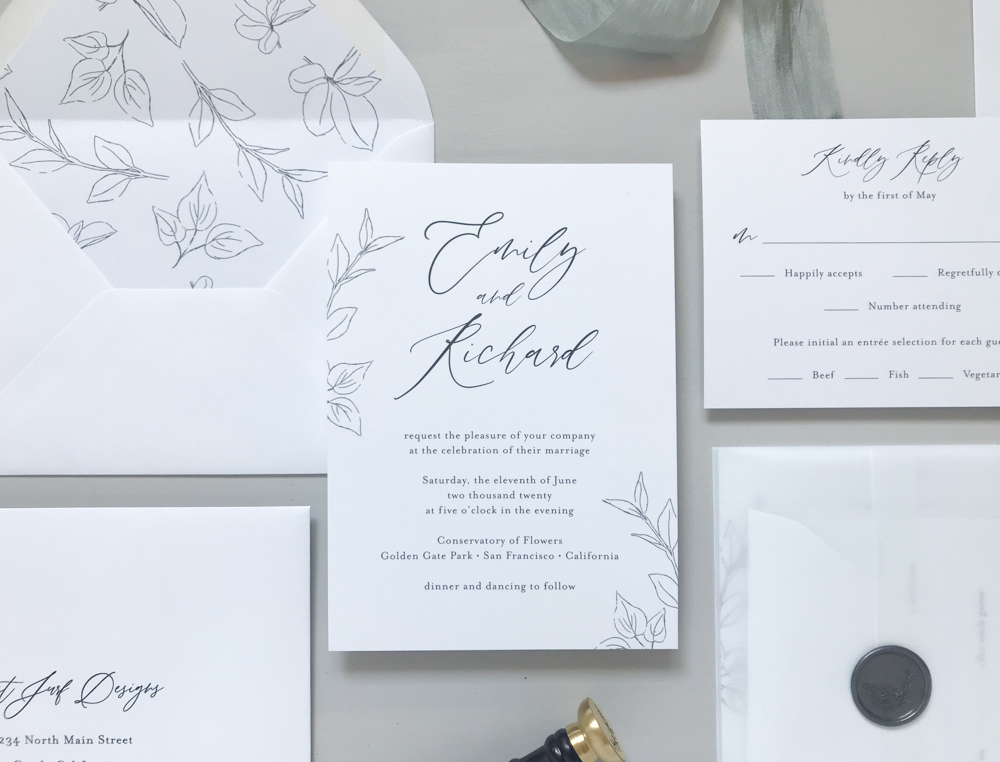 *Modern Botanical Wedding Invitation Suite by Just Jurf-7.jpg