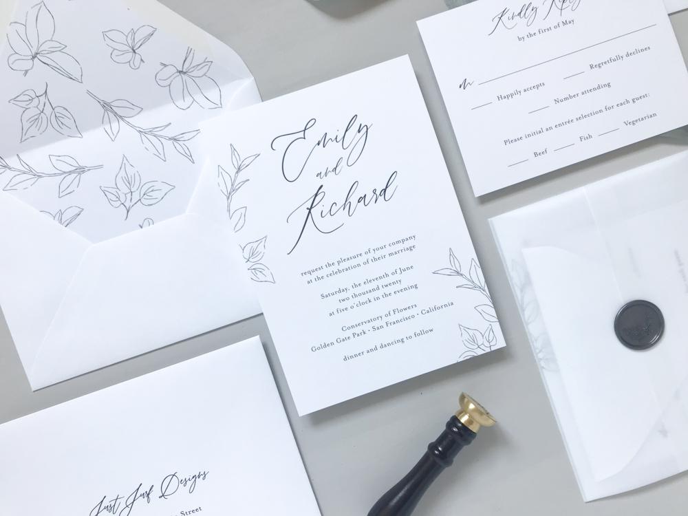 *Modern Botanical Wedding Invitation Suite by Just Jurf-4.jpg