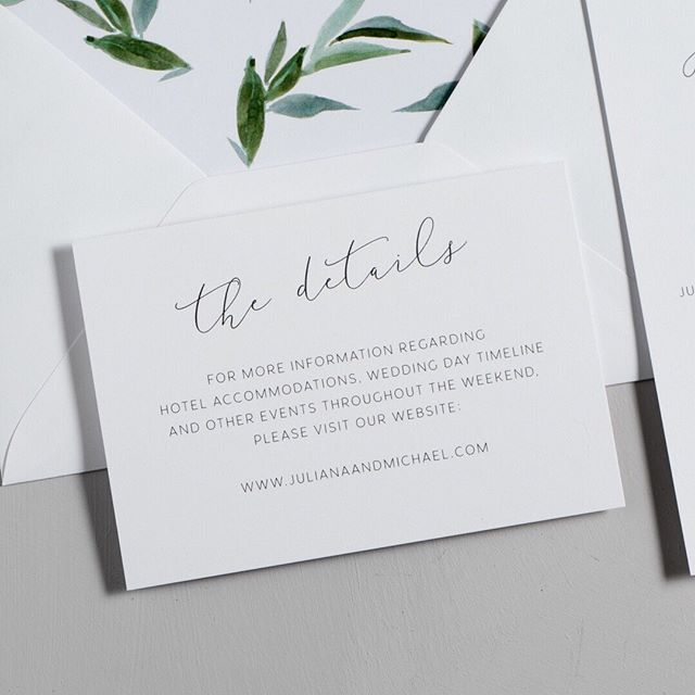 What do you include on a details card? 🤔 Basically, anything - details to your wedding website, hotel accommodation information, travel information, rehearsal dinner or any other event details. The possibilities are really endless. I try to think of it like anything else you'd like people to know when planning to attend your wedding. ⠀⠀⠀⠀⠀⠀⠀⠀⠀ For specific examples and wording recommendations, check out the etiquette guide on my website ❤️ ⠀⠀⠀⠀⠀⠀⠀⠀⠀ #weddingstationery #weddings #weddingdetails #weddinginvitation #greenerywedding #minimalistwedding #weddingtips #weddingadvice #tiptuesday #detailscard #weddinginformation #weddingwebsites #weddinginfo #greenery #script #minimalist #invitationsuite #envelopeliners #fallwedding #winterwedding #springwedding #summerwedding #sfwedding #californiawedding #sdwedding #texaswedding #michiganwedding #massachusettswedding #newyorkwedding #nywedding