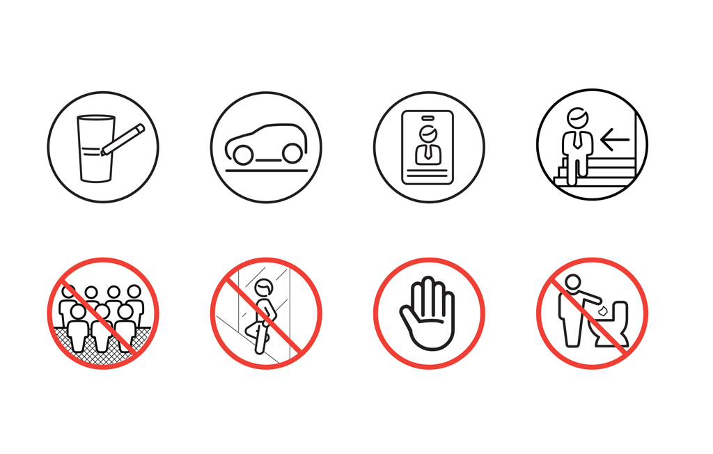 Informative and prohibitive pictograms.