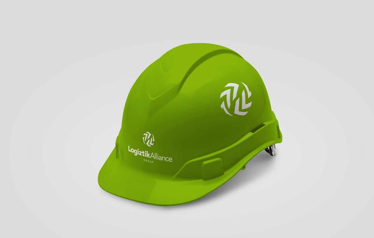 logo applied on a worker's helmet