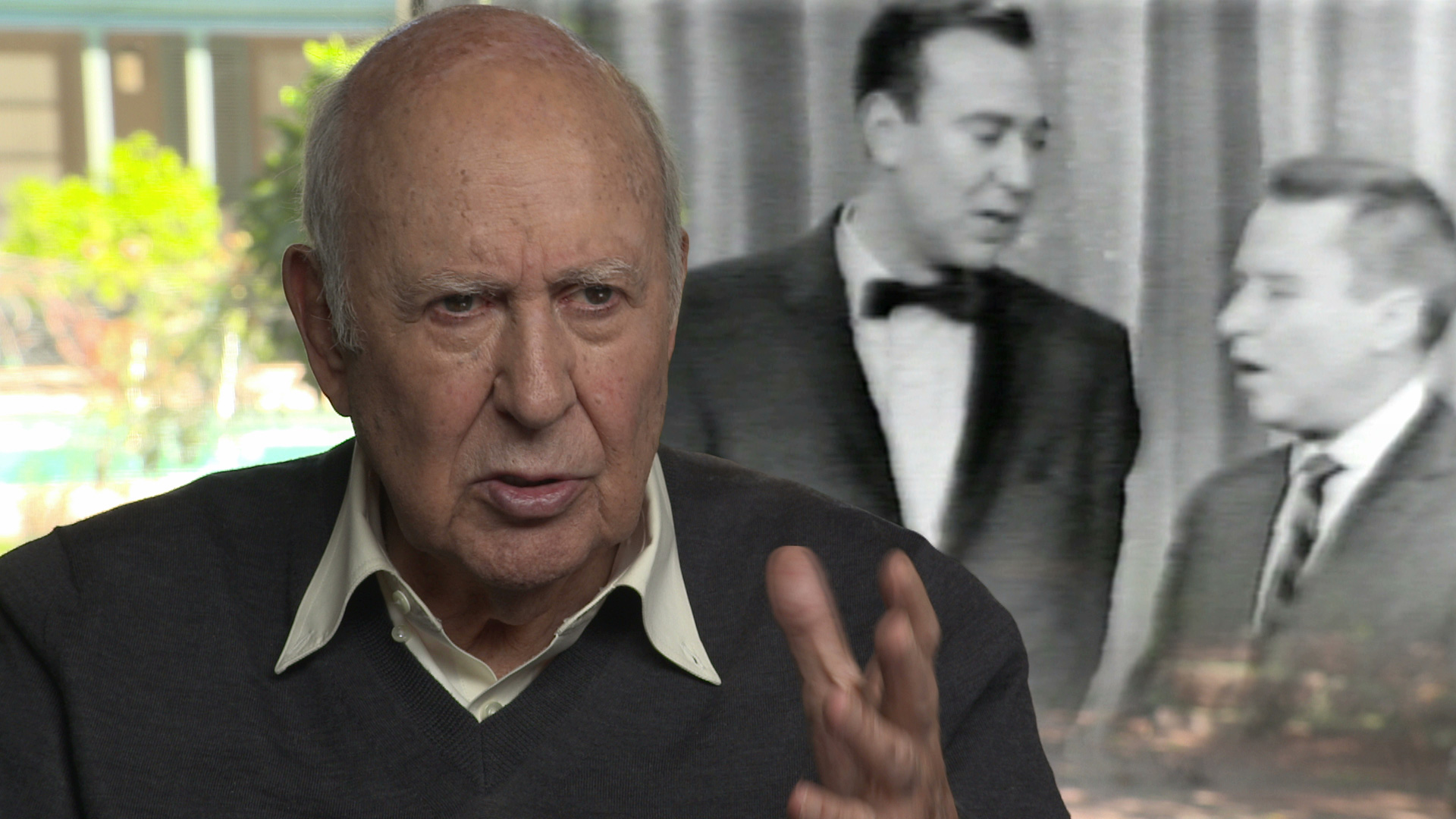 """A film grab from """"Funny You Never Knew"""" where Carl Reiner is talking about his experience of being a guest star on the George Gobel show."""