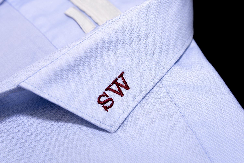 Embroidered dress shirt collar