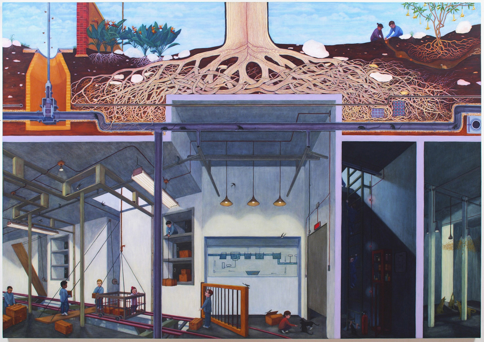 """System Failure: Water, 56"""" x 80"""", oil on canvas/panel, 2007"""