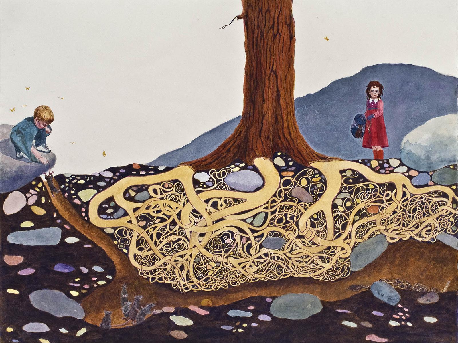 "Treasures, 17"" x 22.5"", watercolor & gouache, 2010"
