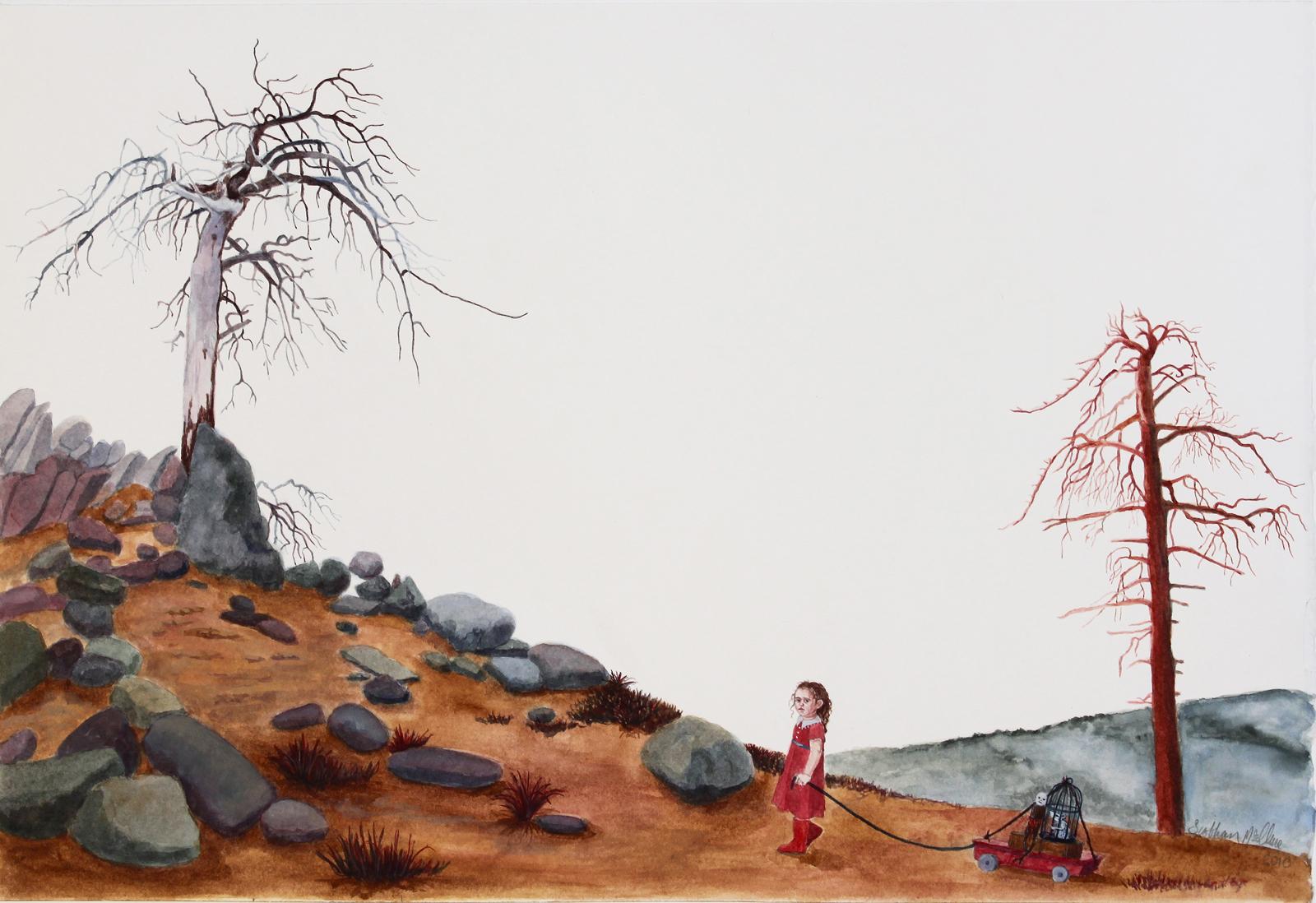 """In-between, 11.25"""" x 17.25"""", watercolor & gouache on paper, 2010"""