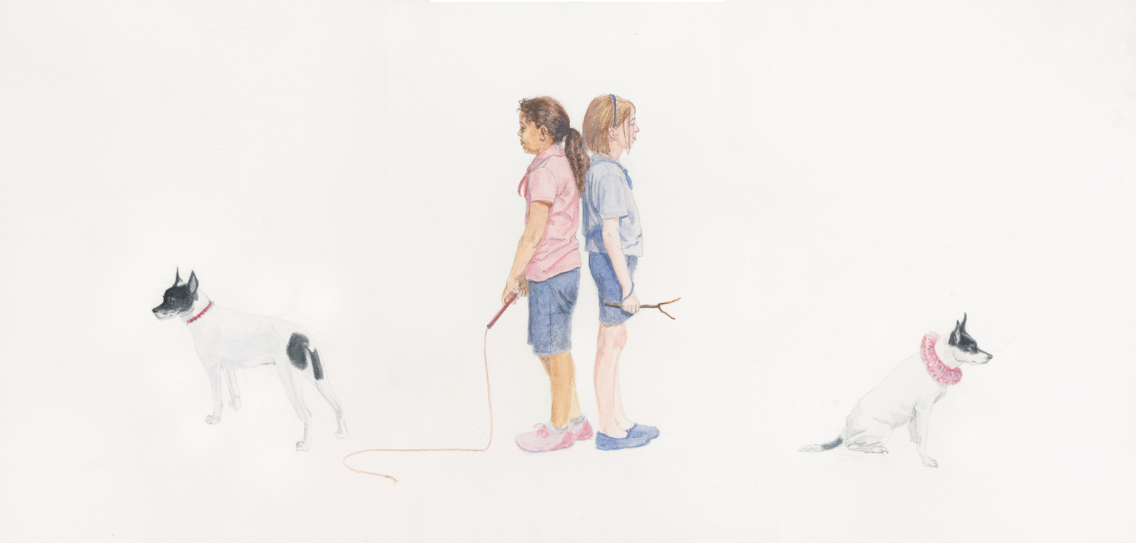 "Girls, Armed & Ready, 9.75"" x 20"", watercolor on paper, 2014"