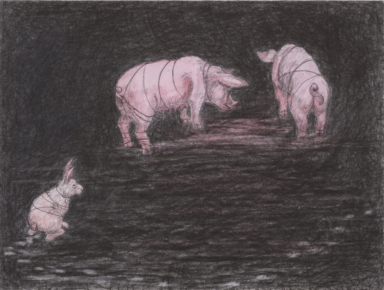 "Pig Pause, 8"" x 10.5"", graphite & watercolor on paper, 2015"