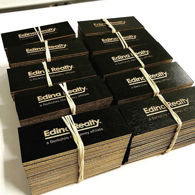 First impressions are everything. We had fun hammering out some custom made laser engraved wooden business cards for Edina Realty today. The black stained maple once engraved really pops!  #modestmade #modestlaser #laserengraving #lasercut #businesscards #custom #business #impactful #smallbusiness #minneapolis #stpaul #mnmade #realestate