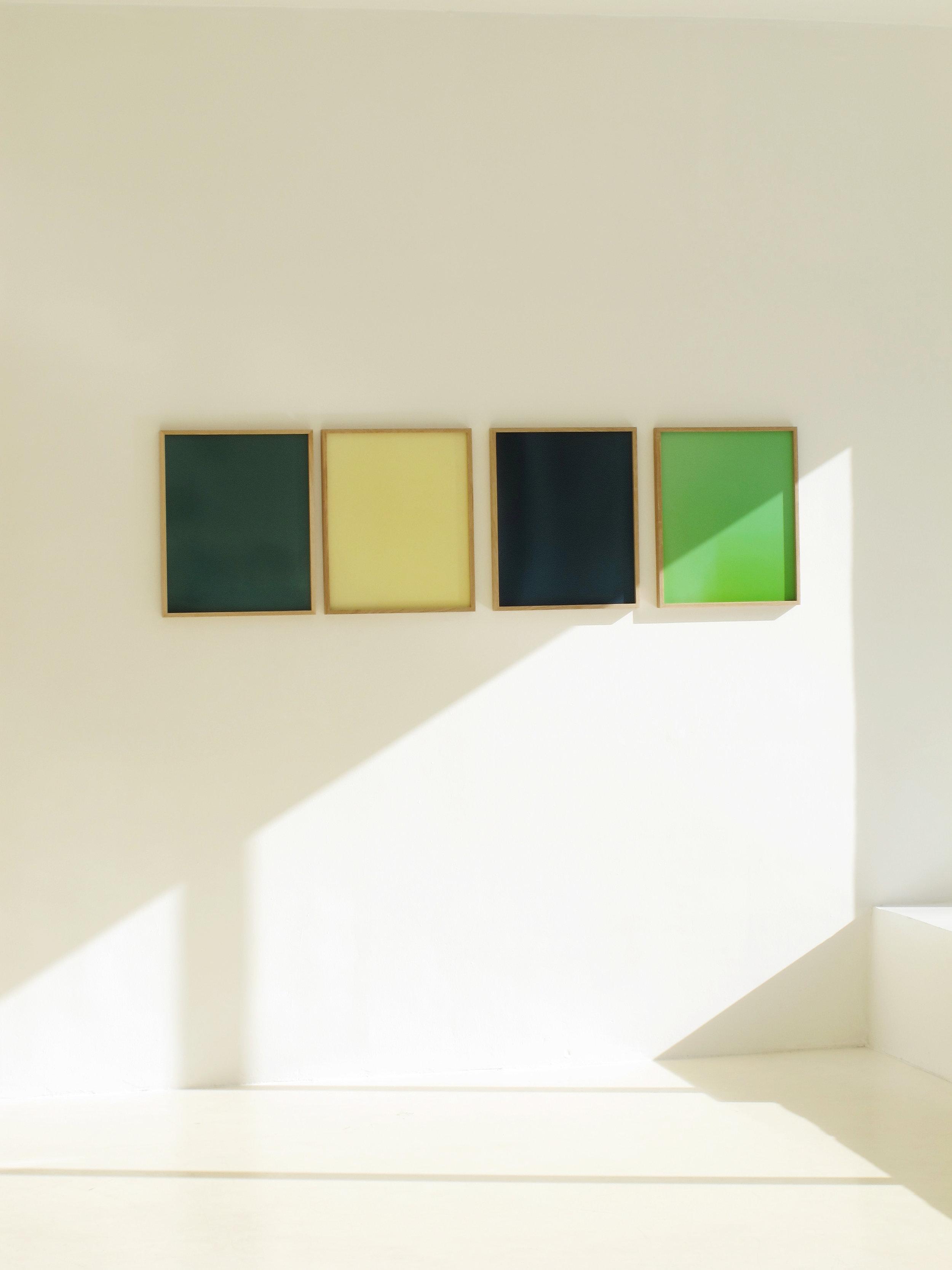 Colour Corrections  (2013) Analogue monochromes, made without the photographical negative Unique C-prints,50,8 x 42 cm and 64,5 x 50,8 cm  Photo:Randi Grov Berger/Entrée Installation view at Entrée