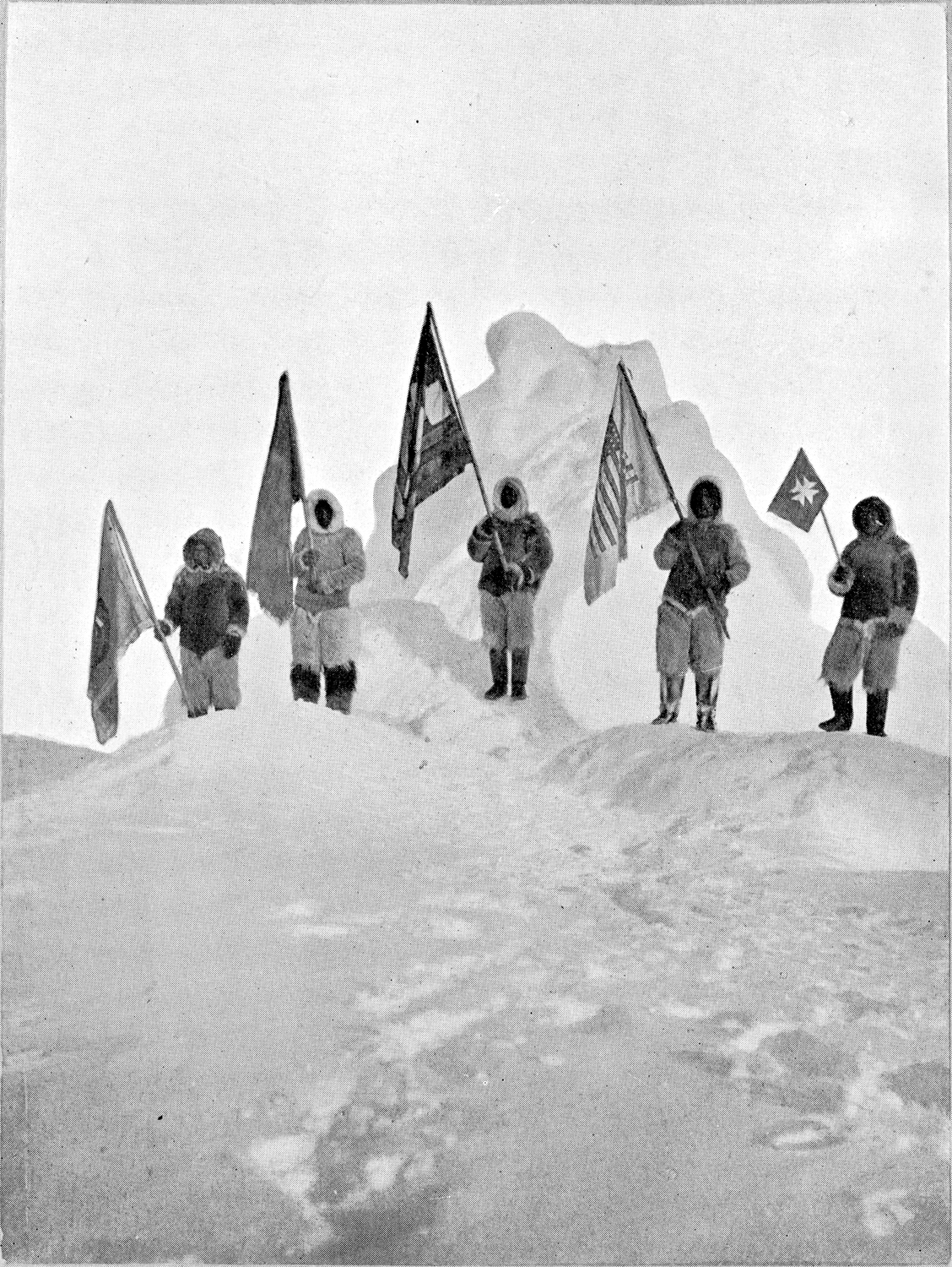 After Peary 1909   The five flags at the Pole ([1909], c1910)   After a photomechanical halftone print,  The North Pole  by Robert E. Peary (London: Hodder & Stoughton 1910)