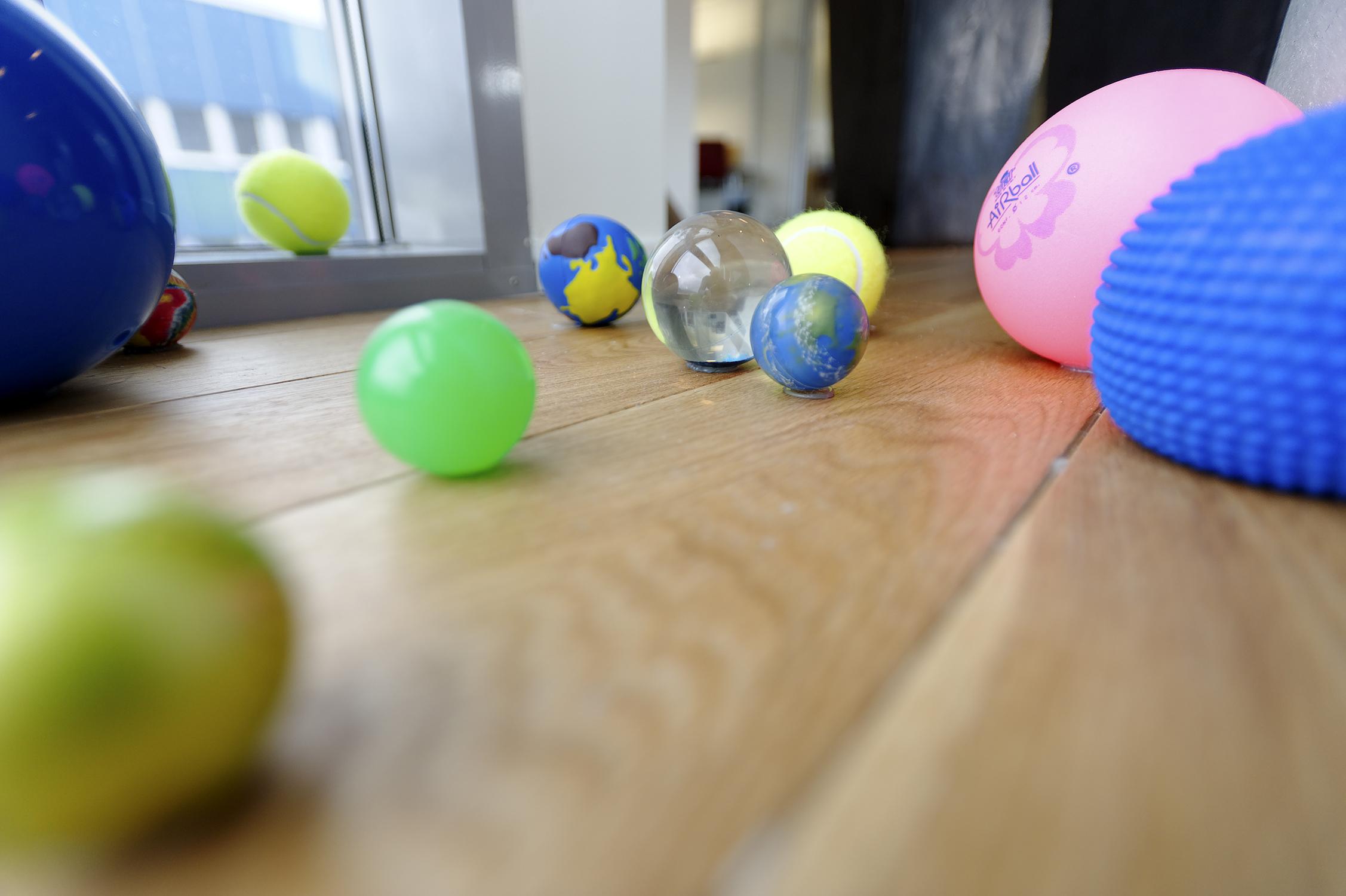 Balls on floor