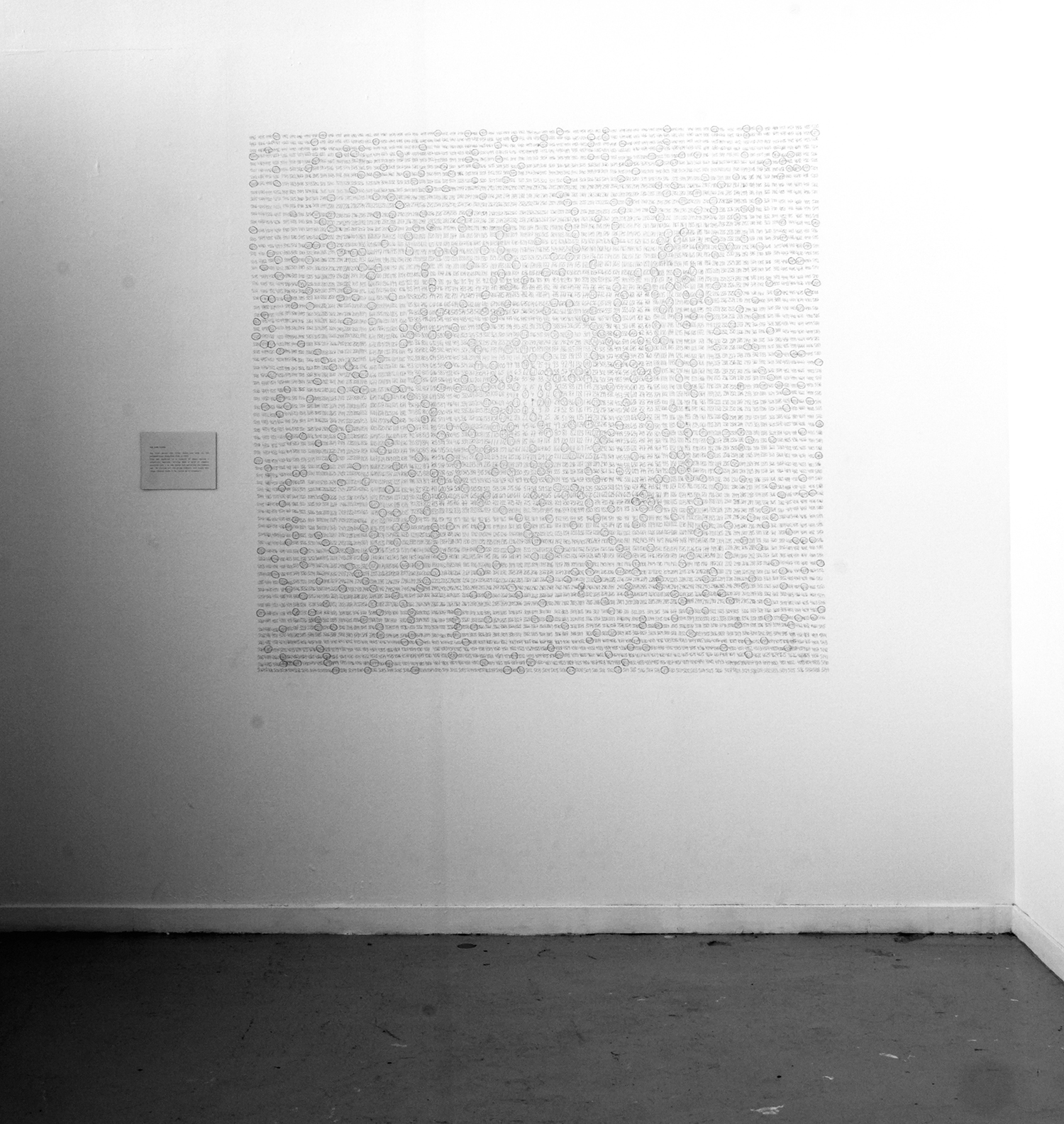The Ulam Spiral  Pencil, text on cardboard Wall drawing,variable dimensions (here ca. 180 x 180 cm.)  Installation view, Phonogamous , Bergen National Academy of the Arts 2007