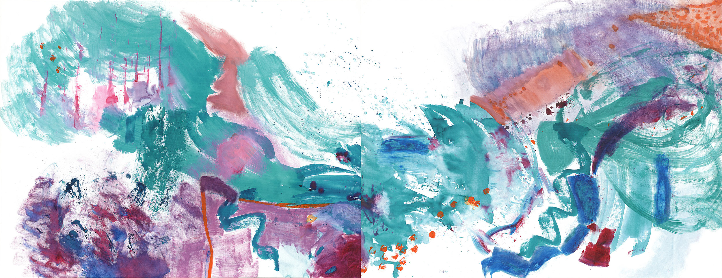 The Great Migration (Diptych), 2015  Calligraphy ink and acrylic on canvas