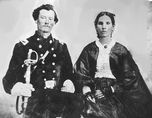 The Blues - Malinda and Keith returned to Watauga, but they were not settled for long before local Confederate forced demanded Keith to enlist again or be drafted. This led the couple to flee once again to Tennessee where they joined the US-10th Michigan Cavalry led by Colonel George W. Kirk. Life was quiet while Keith performed administrative tasks as a recruitment agent, but soon enough they two decided to pursue more adventure by joining Colonel Kirk's voluntary guerrilla squadrons. In this new position, Keith served as a guide for the Watauga Underground Railroad, guiding escapees to the safety of Tennessee, always with Malinda close by his side. Yet, as 1863 came to a close, the skirmishes that the they faced became more brutal. Keith's forces had no mercy on those they targeted, raiding farms, stealing, and killing. During this time Malinda was once again wounded in the shoulder and Keith was shot in his eye.