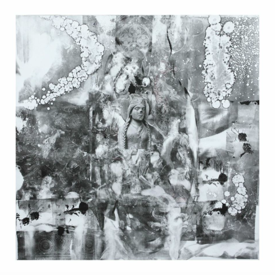 """Ancient Days, 30""""x30"""", monotype/framed"""