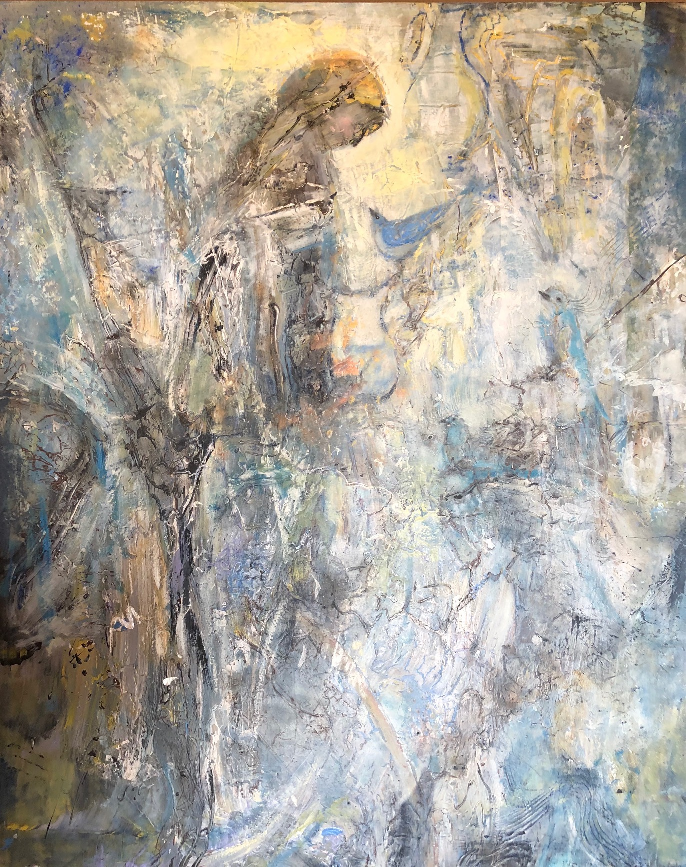 """Water Girl, 50""""x40"""", mixed media on panel"""