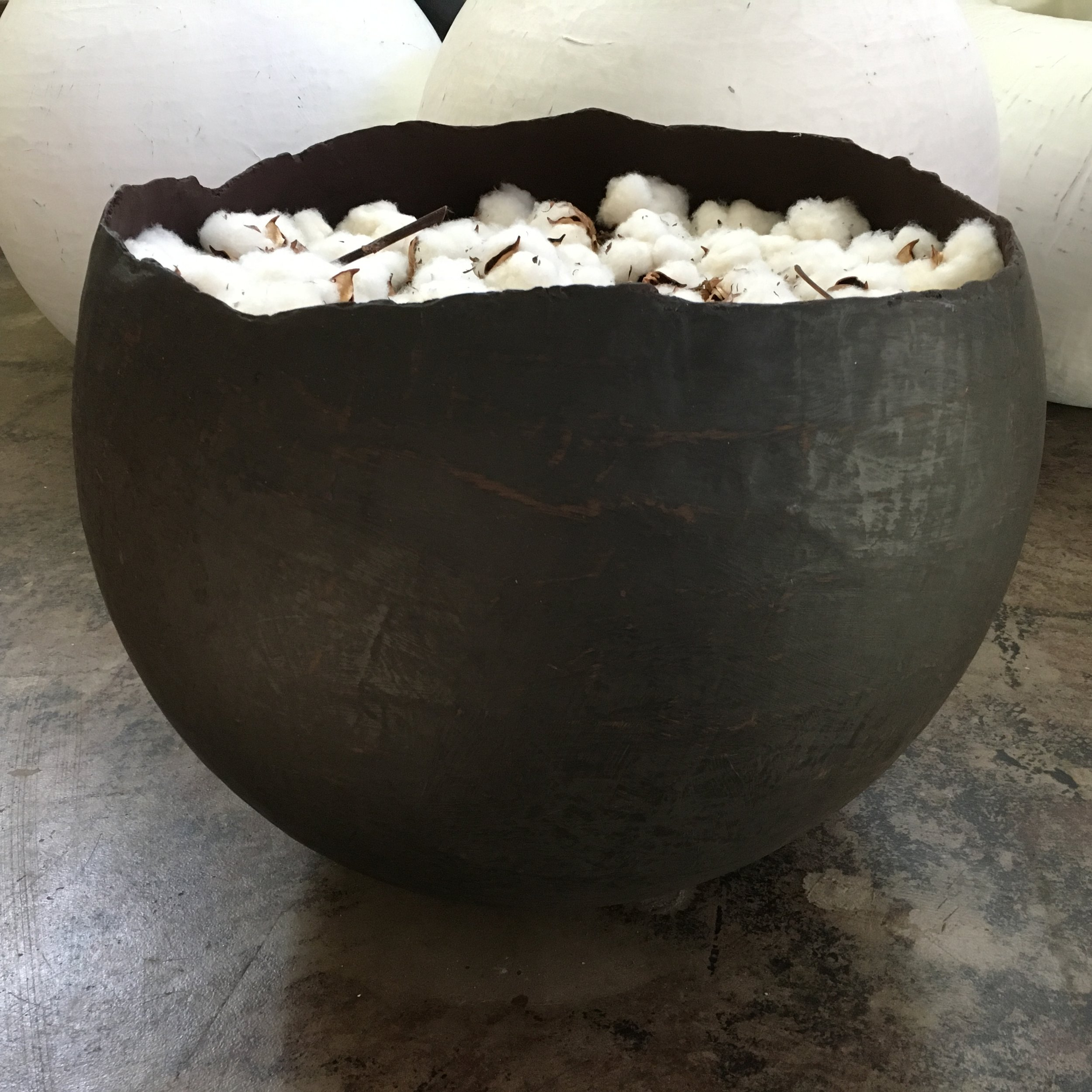 Large Black/Brown Bowl with Cotton