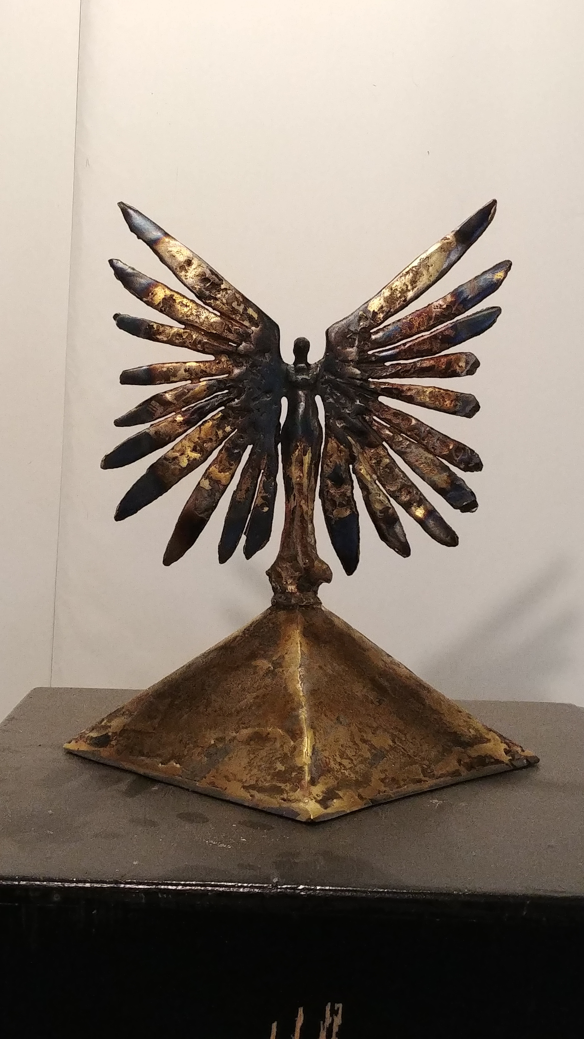 """Angel on Pyramid, 13""""x11"""", bronze and steel"""