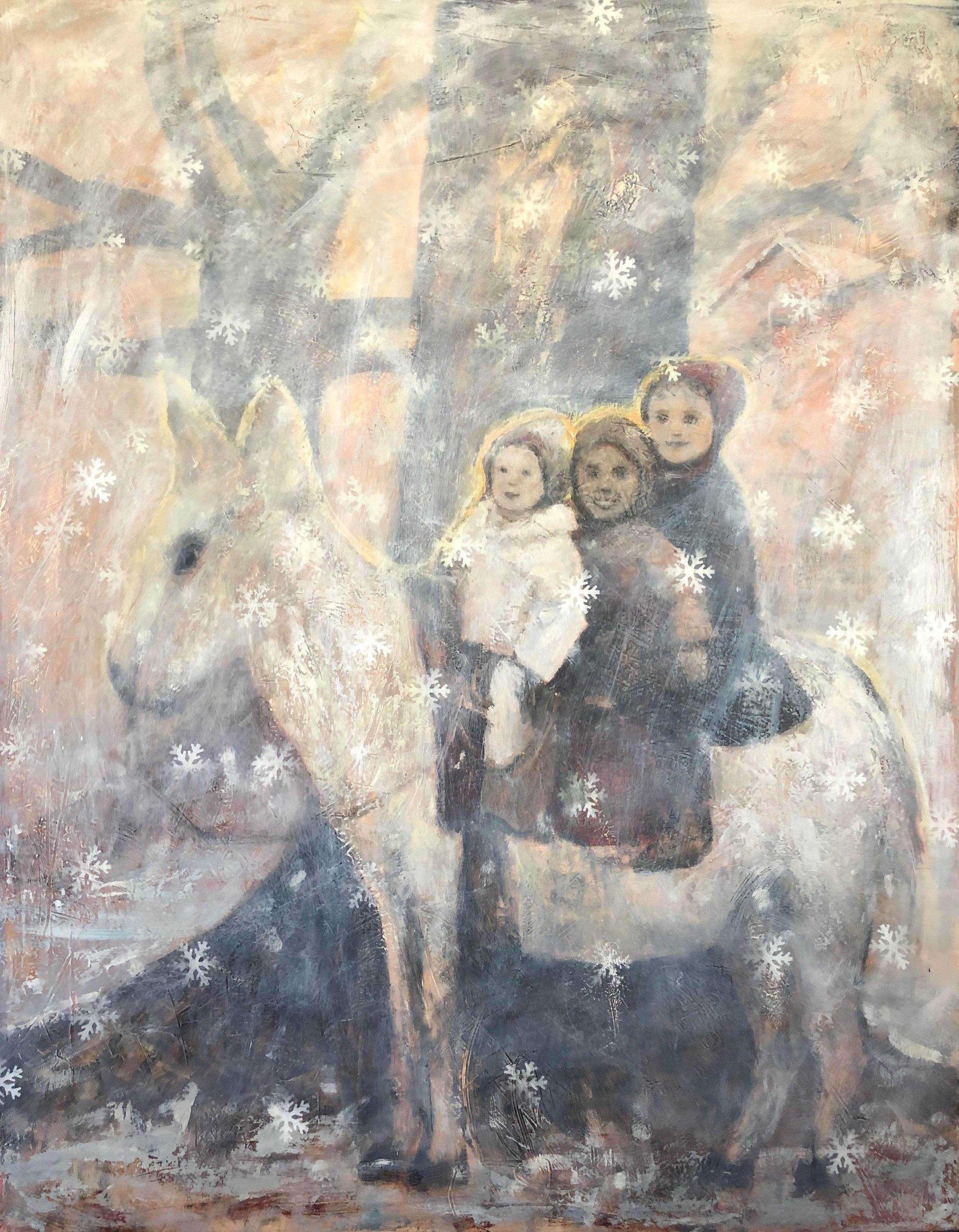 "Randall LaGro, Memories of Snow, 47""x60"", oil on panel"