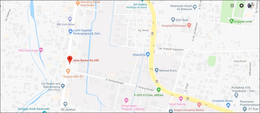 Map of CV Berjaya - 440 Jalan Bantul, Desa Panggungharjo, Yogyakara, Indonesia