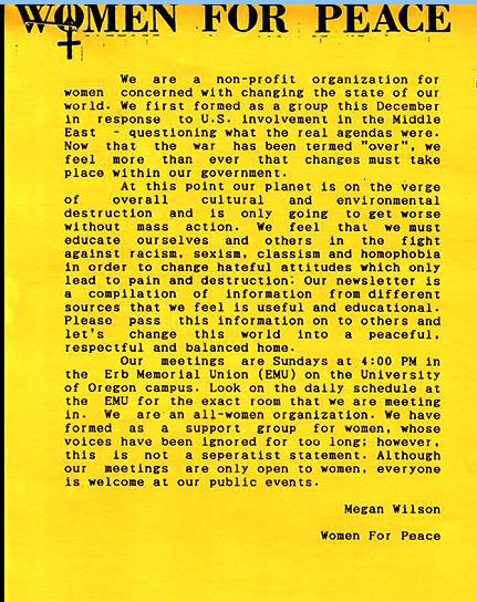 Women For Peace Newsletter, University of Oregon 1991