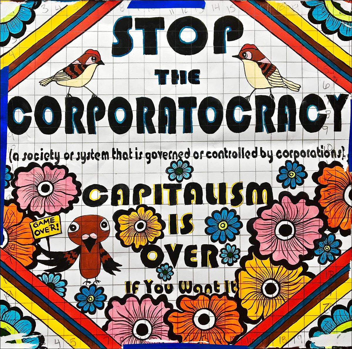 Original drawing,  Stop The Corporatocracy , 2015