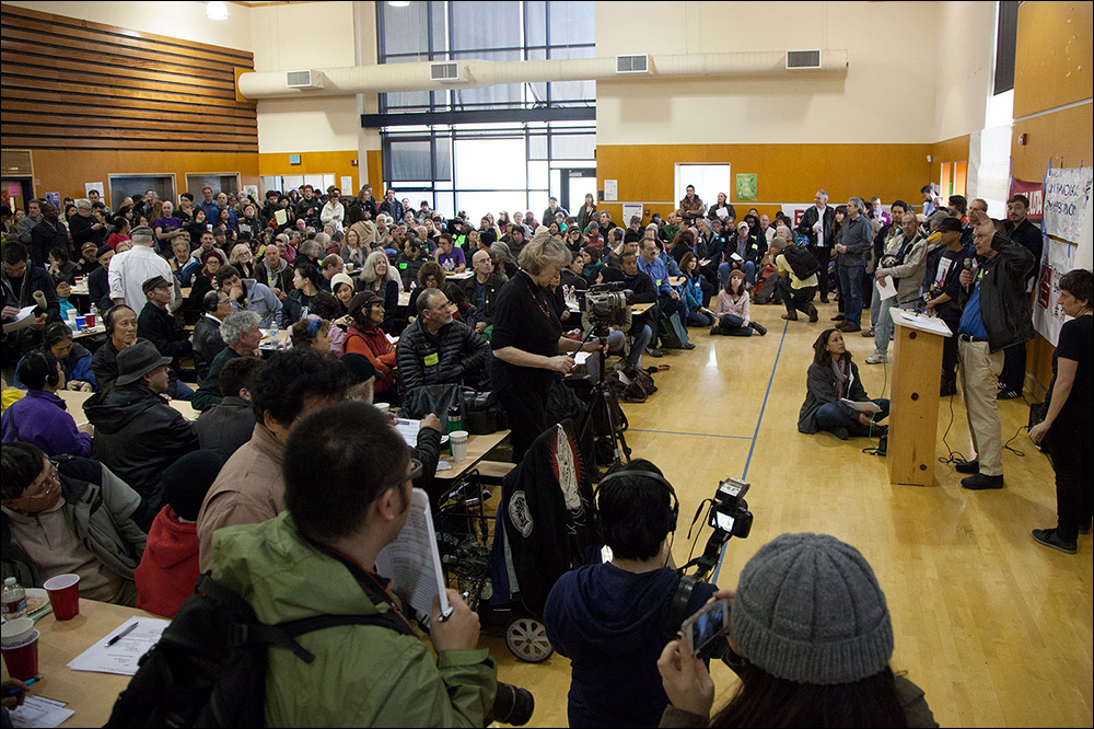 City-wide convention at the Tenderloin Community School, February 2014 with 400+ activists, politicians and tenants from throughout San Francisco gathered to discuss the eviction epidemic and propose new laws targeted at slowing down evictions