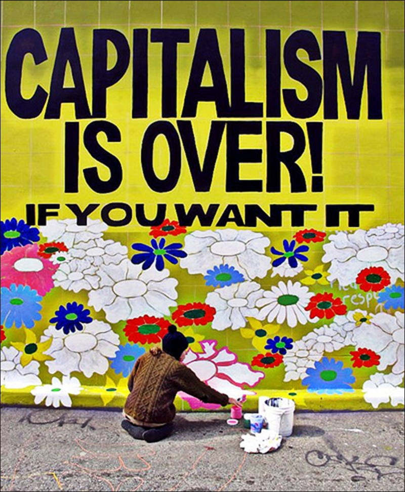 Wilson painting  CAPITALISM IS OVER! If You Want It,  mural, Clarion Alley Mural Project, San Francisco, 2011, photo by Steve Rhodes