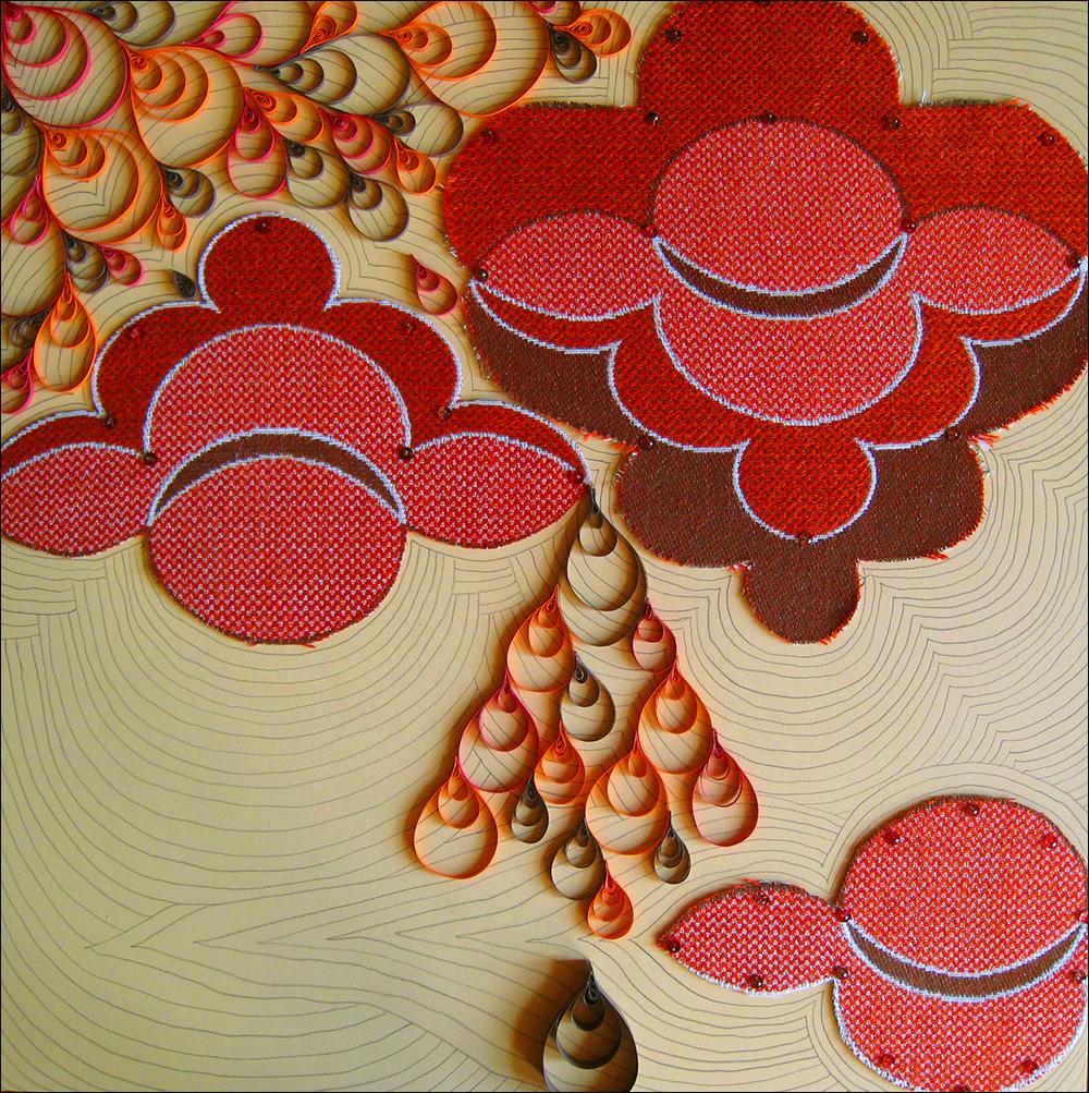 Megan Wilson,  Home Sampler 1 , mat board, textiles, paper, sequins, pins, graphite, 2008