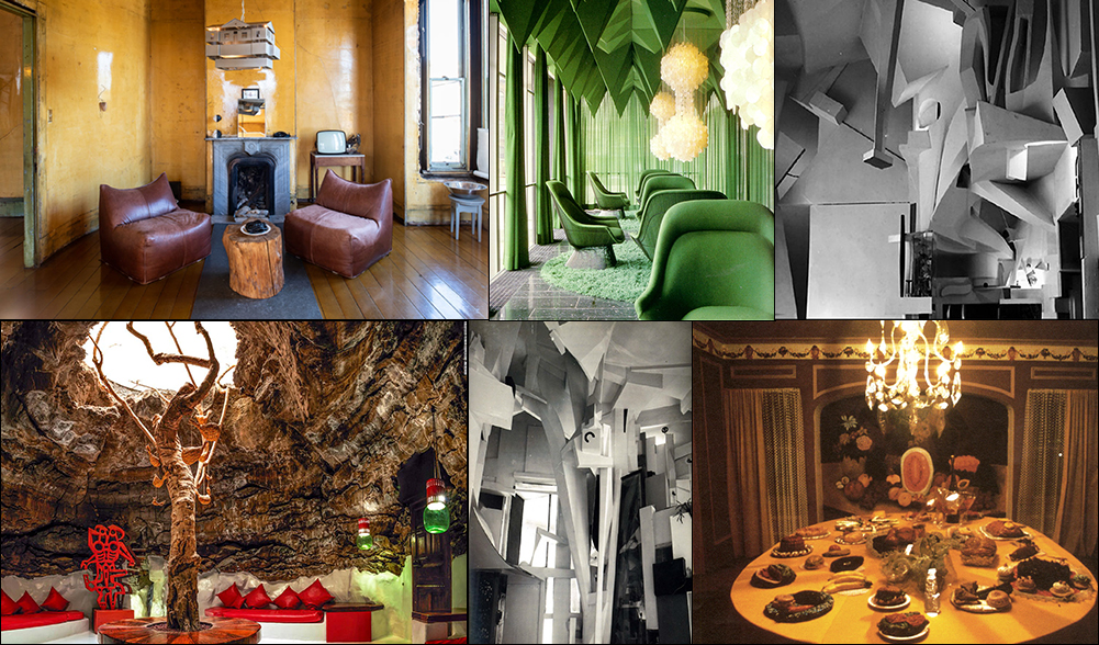 Inspirations for  Home 1996 - 2008  Top Left Clockwise: David Ireland Home, Vernor Panton's Spiegel Publishing House, Kurt Schwitters' Merzbau, Womanhouse Dining Room, Kurt Schwitters' Merzbau, César Manrique's home