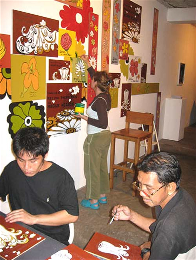 During the opening, Ramie (Apeed), Jose (Boy), and Wilson painted throughout the event. Wilson was interested in bringing visibility to the workers behind the labor/objects they produce and paying them a living wage for that work.