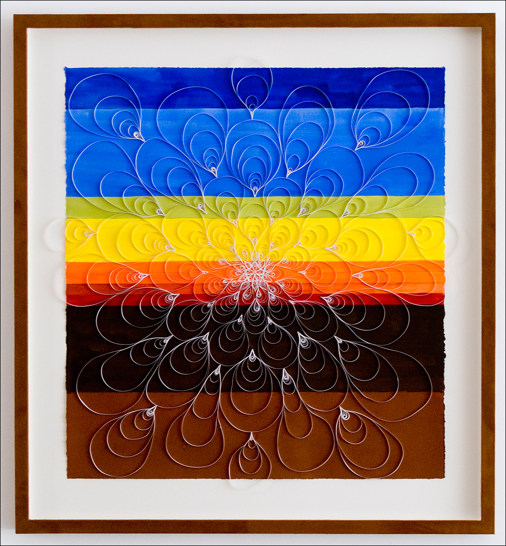 """Morning Glory #1    ,  2007, gouache, pen, quilling (paper craft), 28"""" x 30"""""""