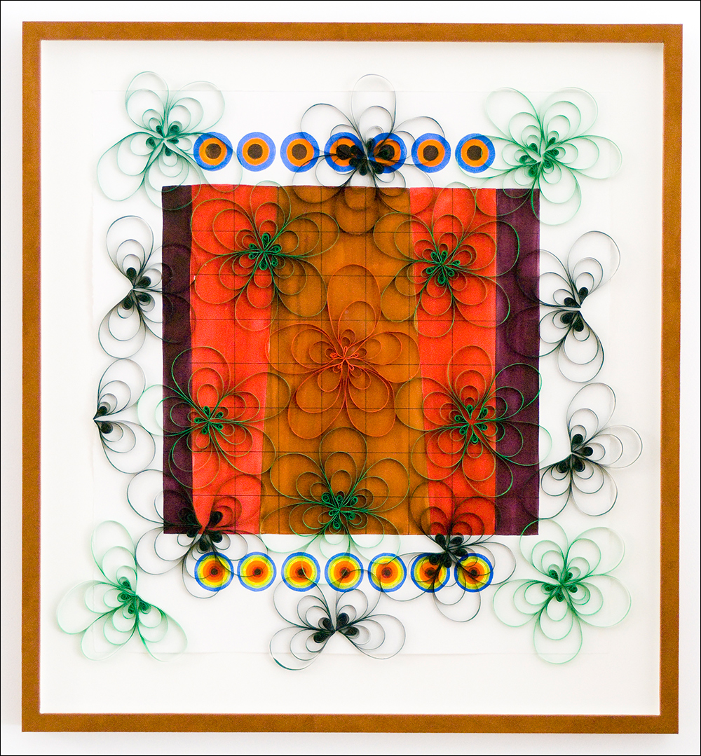 """Morning Glory #2   ,  2007, gouache, pen, quilling (paper craft), 28"""" x 30"""""""