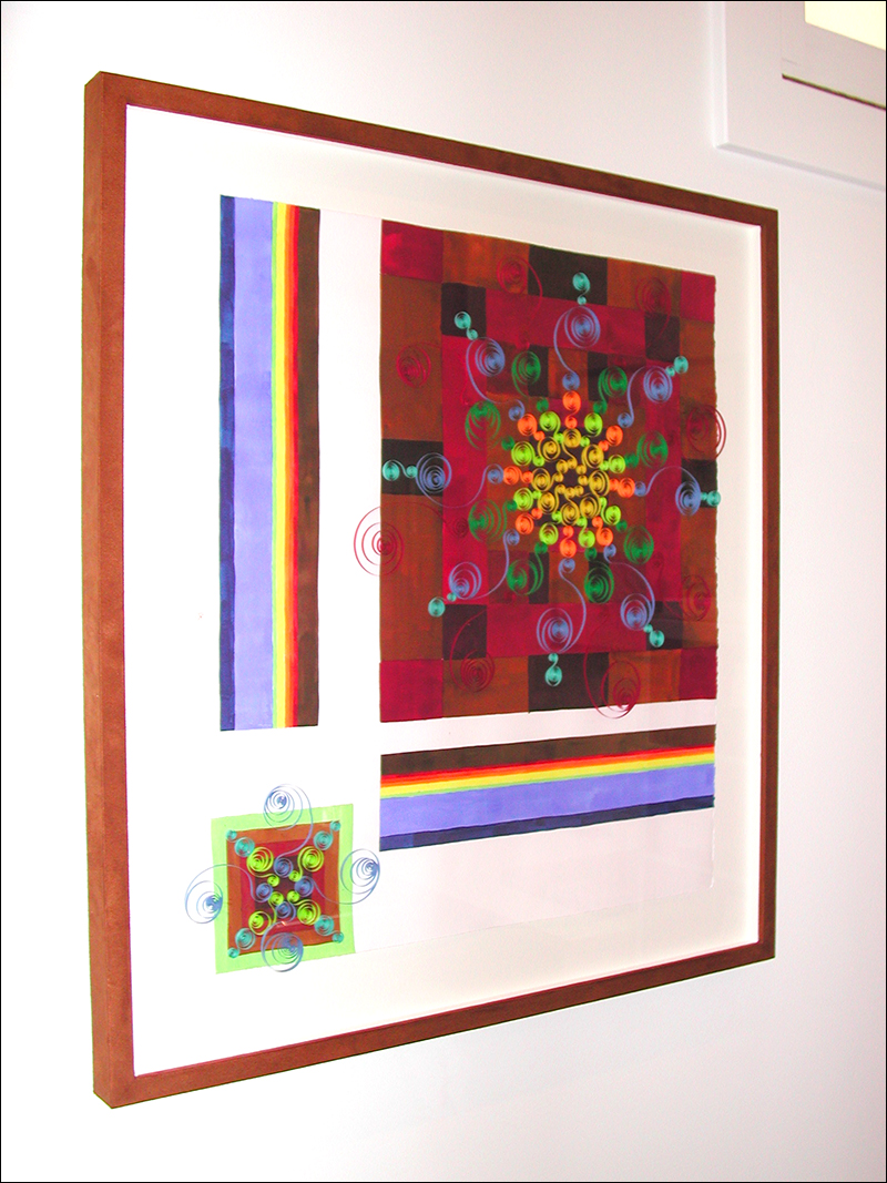 """Morning Glory #5   ,  2007, gouache, pen, quilling (paper craft), 28"""" x 30"""""""