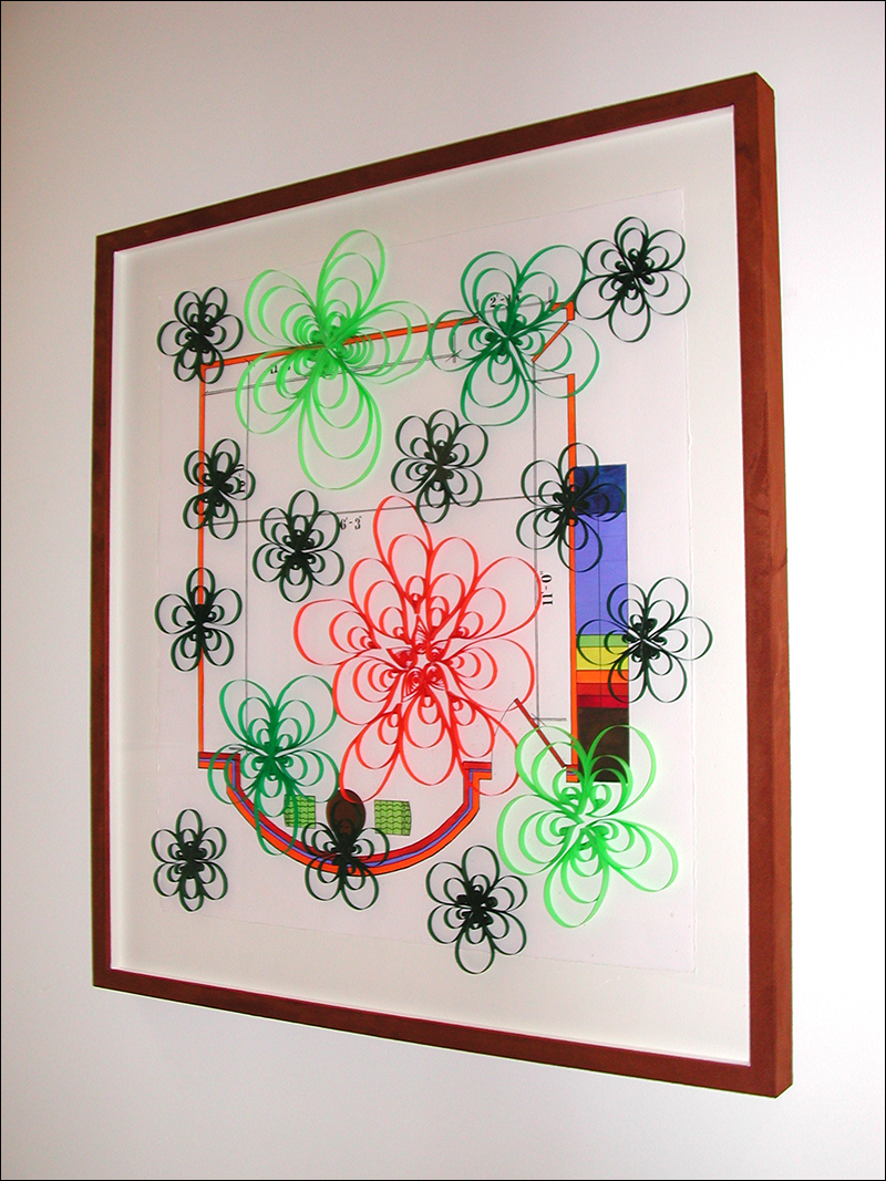 """Morning Glory #3   ,  2007, gouache, pen, quilling (paper craft), 28"""" x 30"""""""