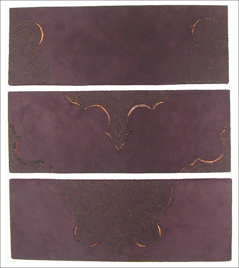 Branded drawing #3 , branded suede, 2004