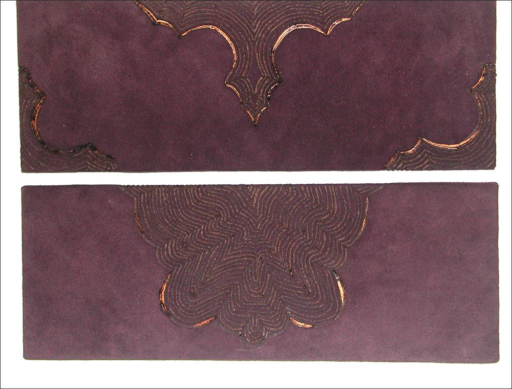 Branded drawing #3 , branded suede, detail, 2004