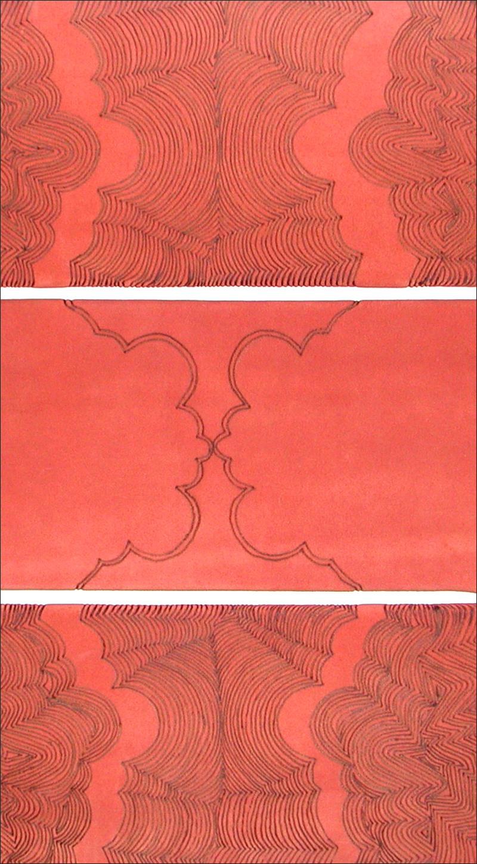 Branded drawing #5 , detail, branded suede, 2004