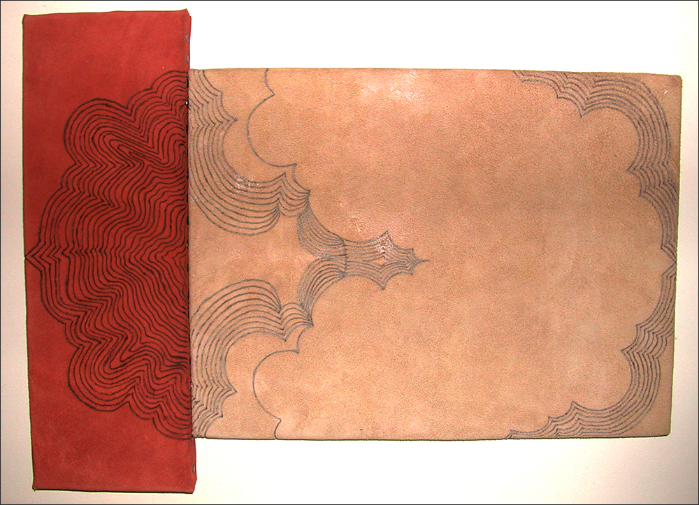 Branded drawing #8 , branded suede, 2004
