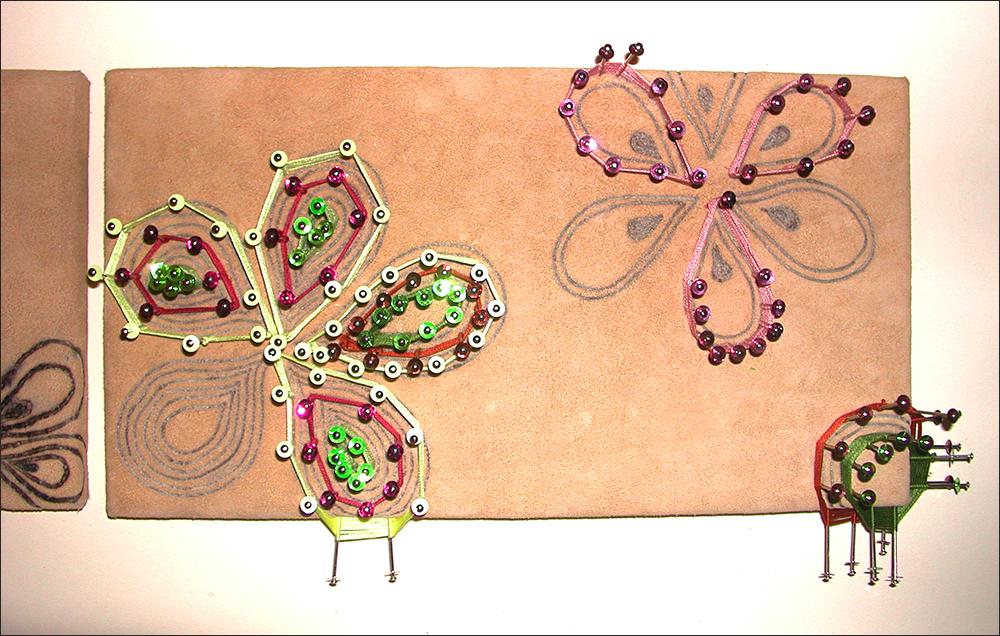 Branded drawing #9 , detail, branded suede, 2004