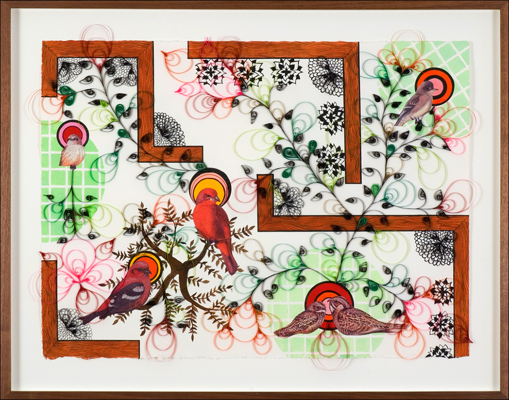 Large Patio , paper, quilling, gouche, ink, collage, 2007