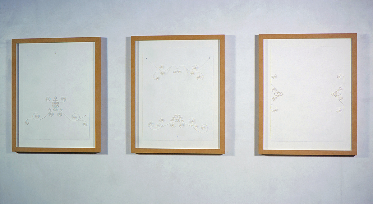 "Bridle Series, 24 1/4"" x 30 3/4"" each work, Quilling (paper), grommets, suede frame, 2001"