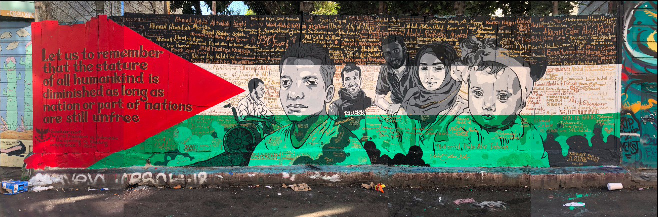 """Bangkit Palestina"" - part of CAMP international exchange & residency Bangkit/Arise, Nano Warsono, Bambang Toko, Ucup, Wedhar Riyadi, Vina Puspita, Harind Arvati, 2018"