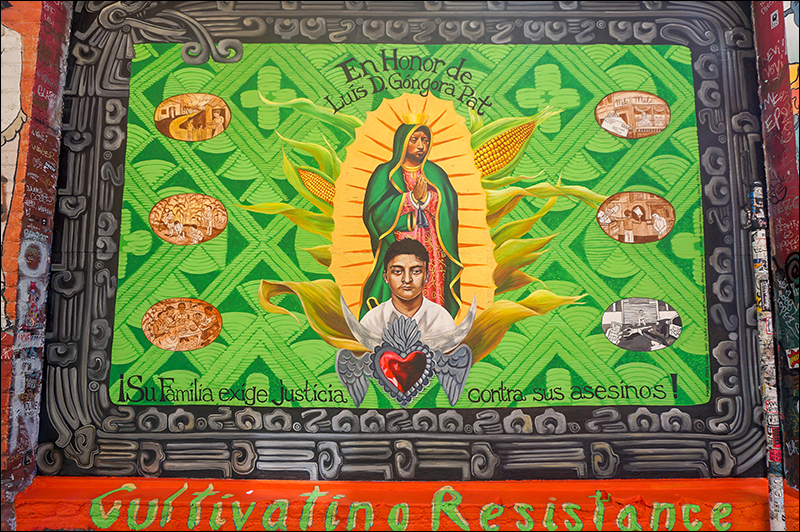 """""""Justice for Luis D. Gongora Pat"""", Marina Perez-Wong and Elaine Chu (Twin Walls Murals), Clarion Alley, 2018"""