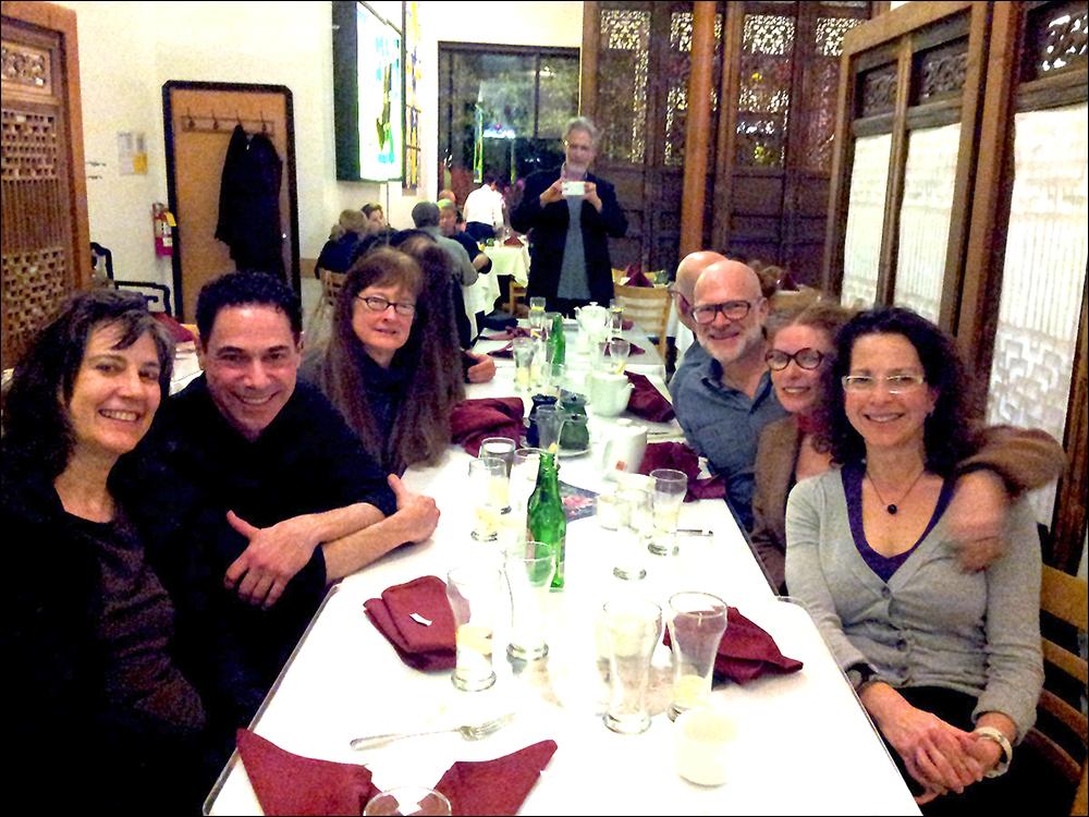 Stretcher reunion dinner, 2014 L->R: Meredith Tromble, David Lawrence, Cheryl Meeker, Glen Helfand, Megan Wilson, and Amy Berk