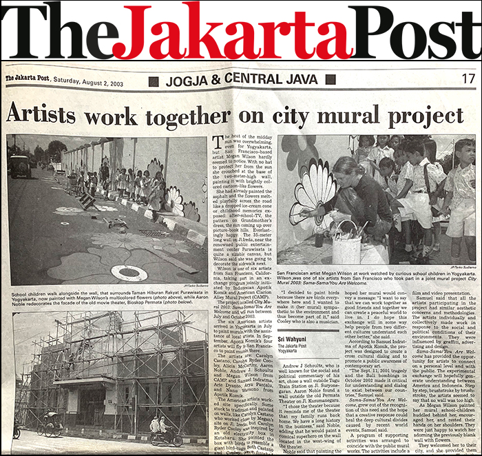 "Jakarta Post, ""Artists work together on city mural project,"" by Sri Wahyuni, August 2."