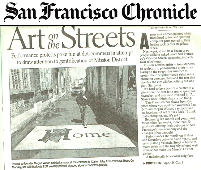 San Francisco Chronicle, 'Art on the Streets' by Mark Martin, August 5.